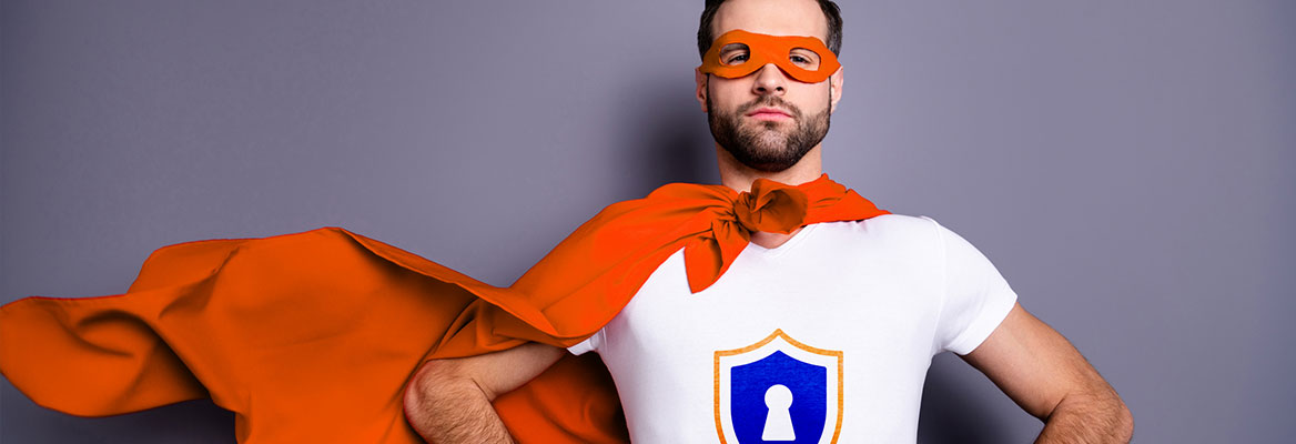 Cybersecurity superhero man with red cape, white t shirt and eye covering